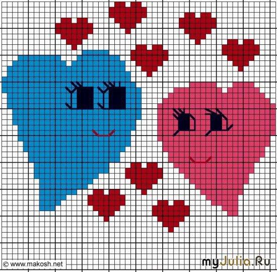 Вышивка сердечек ко дню