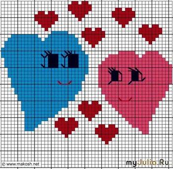 схем вышивок с сердечками: