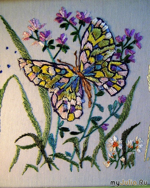 Вышивка гладью картинки бабочки