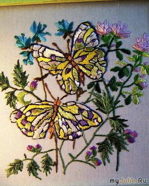Вышивка гладью рисунки бабочек 66
