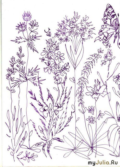 Полевые цветы - Схема для вышивания гладью