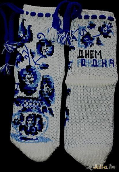 Гжель обожаю , вот попыталась что-то изобразить на носочках.