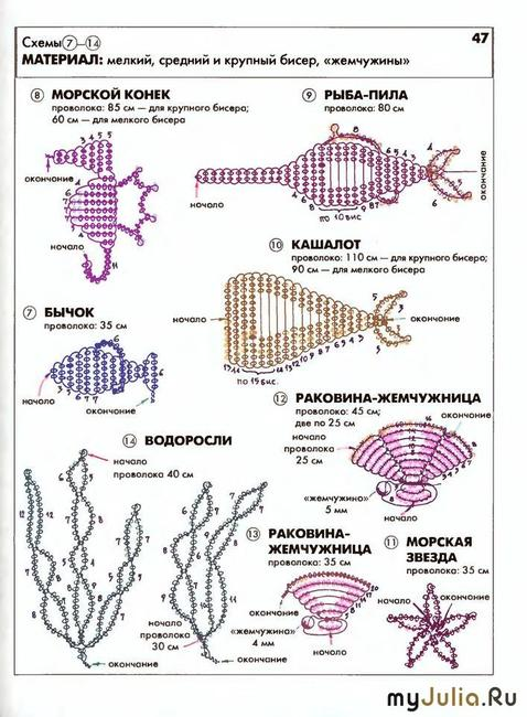Ракушка из бисера схема плетения