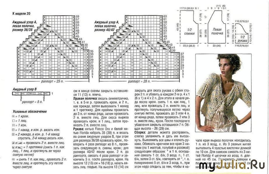 Схемы вязания с коротким рукавом болеро спицами