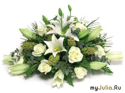 букет белые лилии и розы