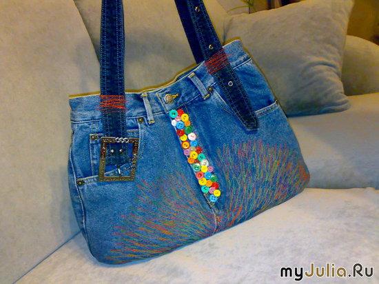 Сумка из джинс -подарок подруге.