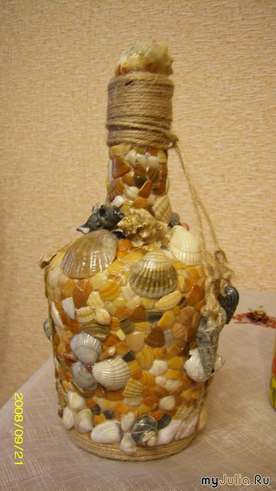108Украшенные бутылки из ракушек своими руками
