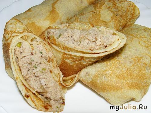 Блины с курицей и сыром рецепт с