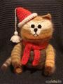 Кот полосатый новогодний. 27 см