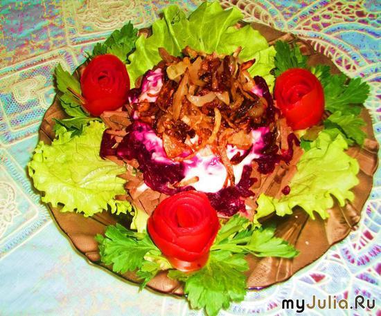Салат печёночный со свеклой