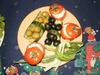 Помидоры с начинкой и корзинки из огурца для оливков и маслин