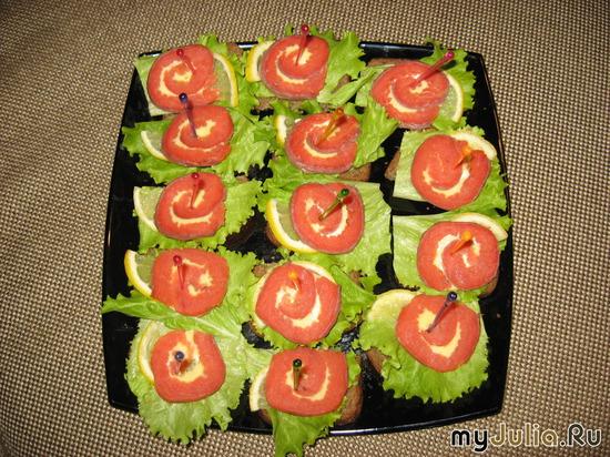 Бутербродики с красной рыбкой