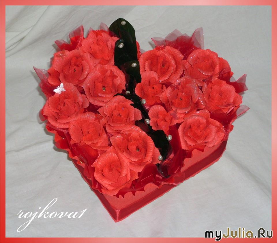 Сердце из роз своими руками из гофрированной бумаги 95