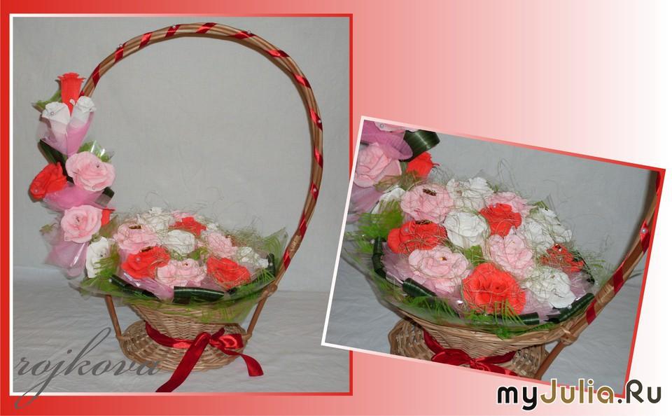 Корзина в сад с цветами своими руками 31
