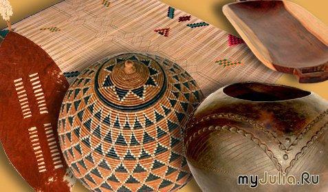 Идеальный декор в африканском стиле - плетеные циновки, текстиль ручной...