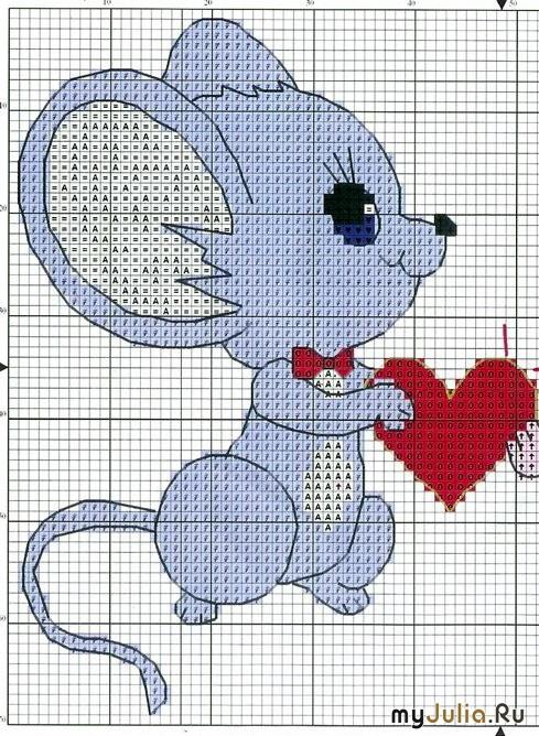 Вышивка крестом мышата 99