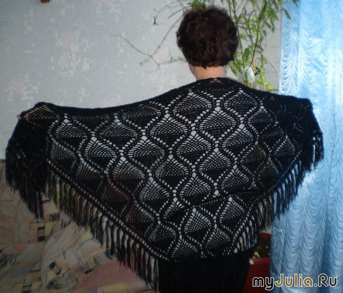 вязание крючком ажурных косынок платков