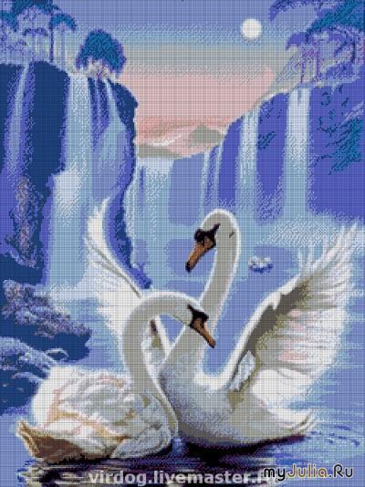 Вышивки бисером лебеди канва 14 бисер