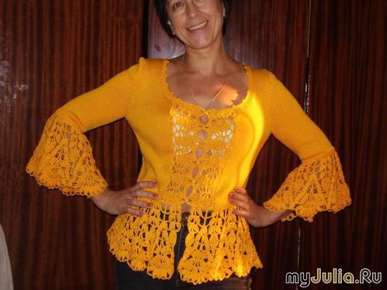 желтая кофточка с оборками