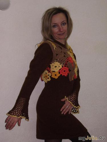 коричневая облипочка с кокеткой