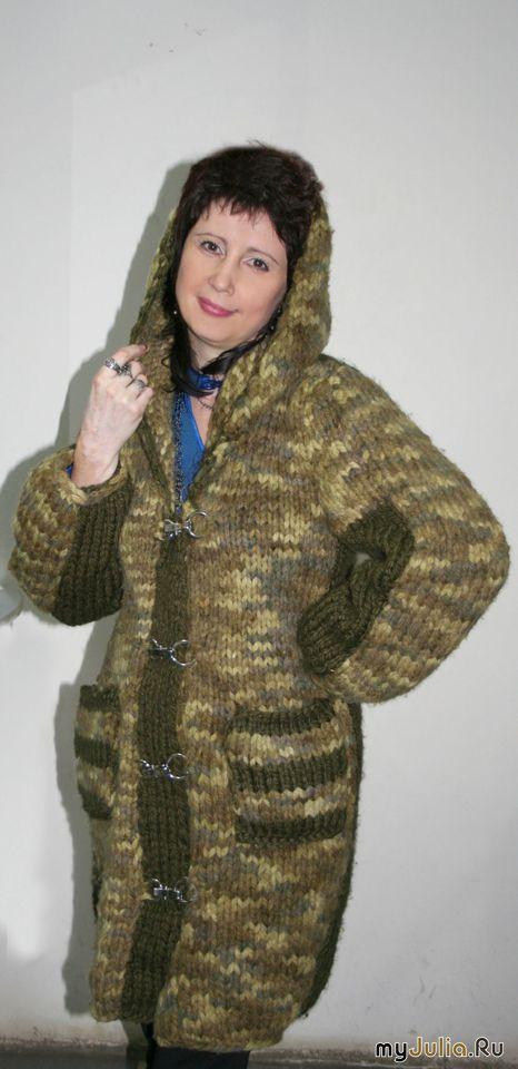 Вязание спицами пальто из меланжевой пряжи 61