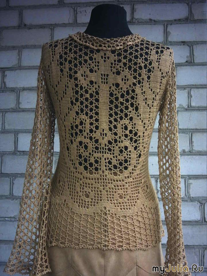 Красивое вязание филейная кофточка