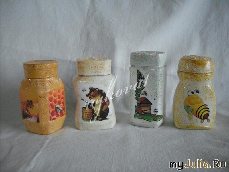 Декупаж баночки для мёда