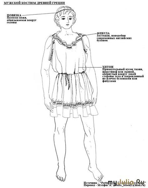 Мужской костюм Древней Греции состоит из хитона - прямоугольного куска...