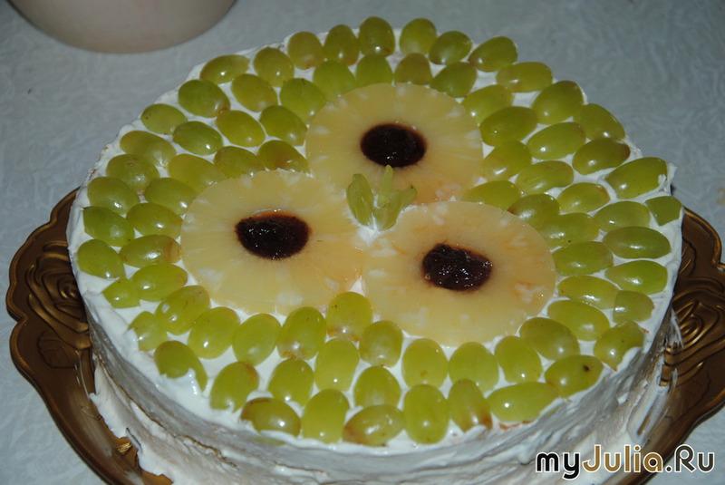 Торт с зефиром и фруктами фото