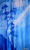 Панно Сосны в синем, креп-сатин, 140х75