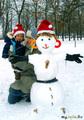 Наш первый снеговик!!!