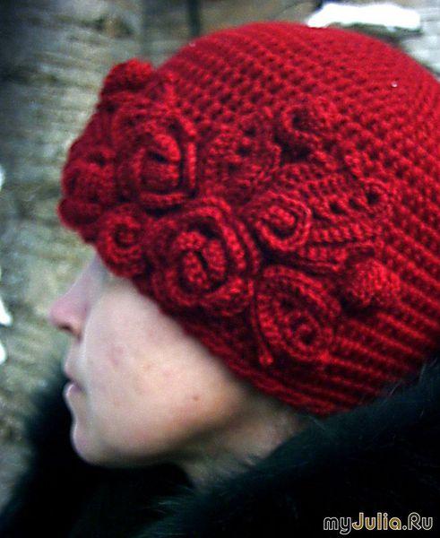 зимняя женские шапки вязаные спицами схема.