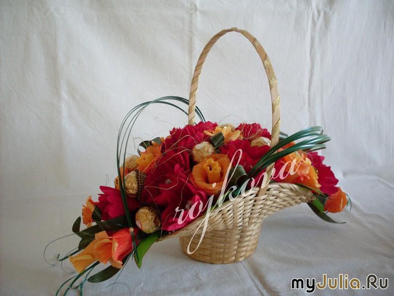 Как сделать корзину с цветами и конфетами
