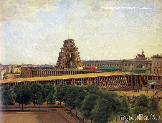 Подъём Александровской колнны на Дворцовой