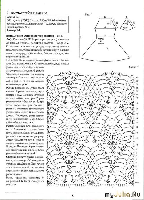 Платье узор ананасы схема