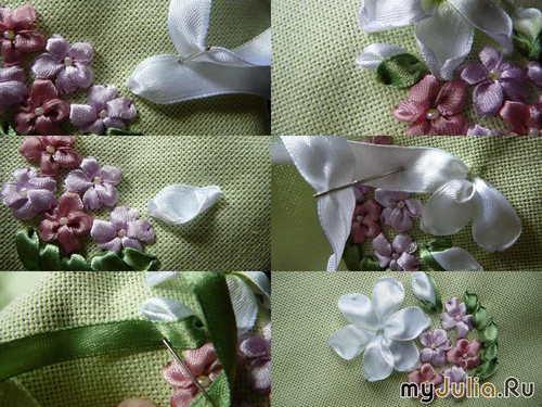 Лилия из атласных лент видео