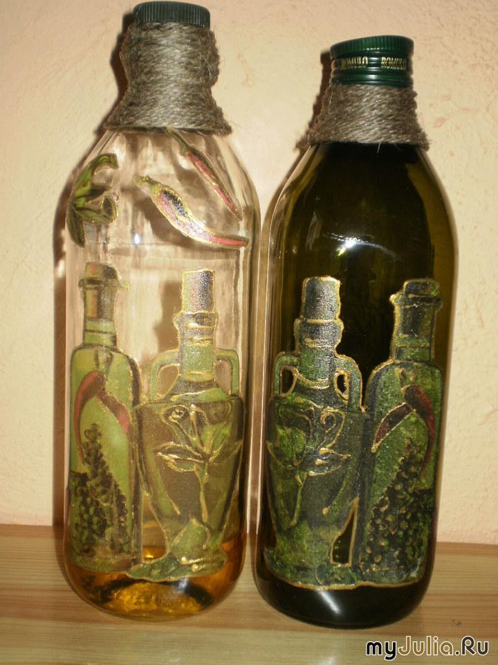 Оформление бутылок декупажем