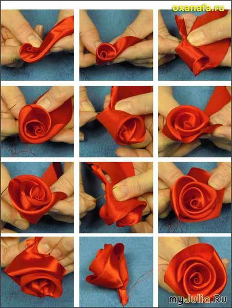 Моя первая роза из лент.  Урок 1.
