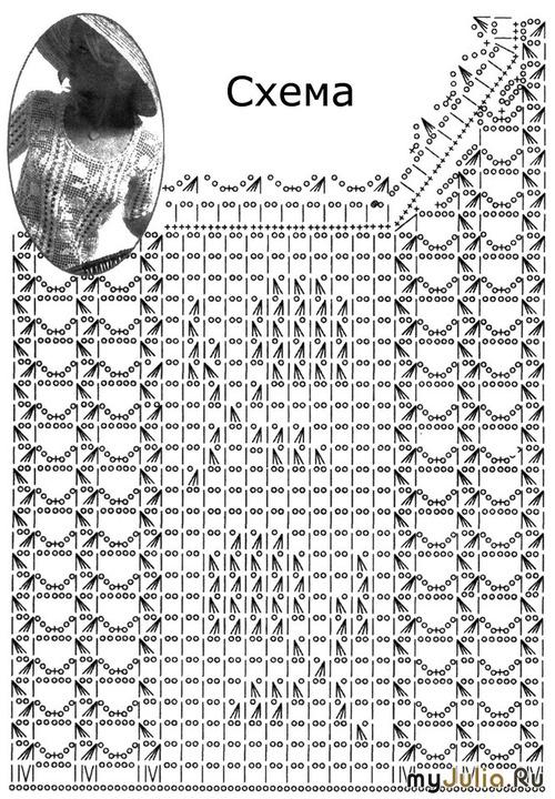 Филейное вязание со схемами и описанием кофты