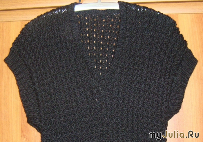 Черный жилет вязание спицы