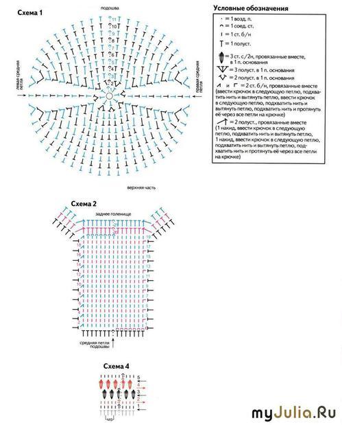 Схема вязания носков крючком: