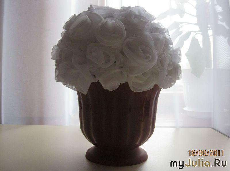 Букет белых роз своими руками