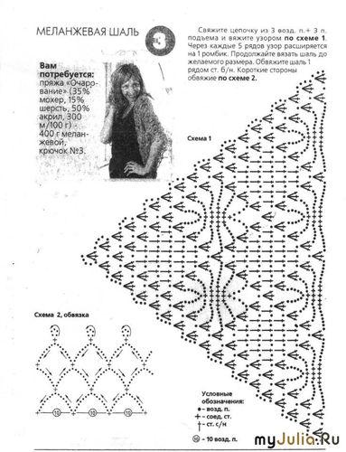 Схема к шали Жучки в крапенку