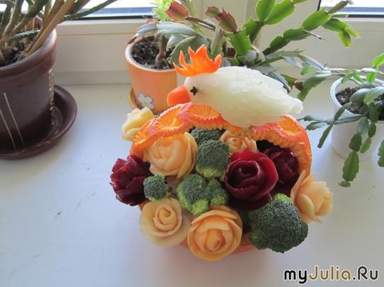 Корзина с розами и попугаем