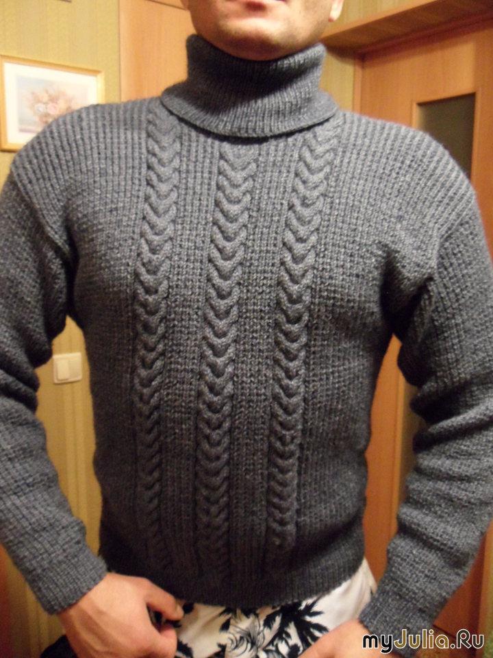 Мужской вязанный свитер с высоким воротником спицами