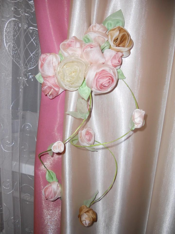 Как сделать розы своими руками для штор 61