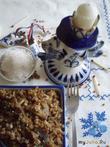 Гречневая каша с луком, яйцами и грибами