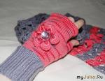 Комплект: митенки + шарф