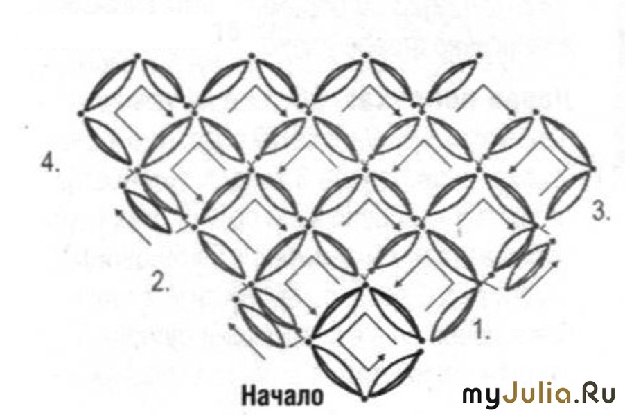 Вязание шали соломоновым узлом схема 3