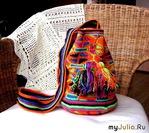 Жаккард крючком - яркая сумка с этническим орнаментом